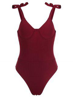 Zaful Ribbed Underwire Tie Shoulder Swimsuit - Red Wine S