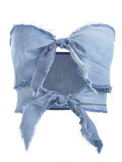 Tie Front Cut Out Bandeau Top - Jeans Blue L