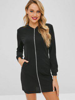 Zip Front Long Sleeves Mini Dress - Black Xl