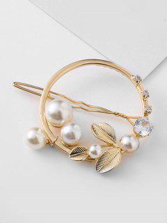 Rhinestoned Leaves Design Artificial Pearl Brooch - Gold