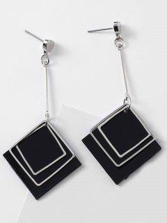 Rhombus And Heart Design Drop Earrings - Black