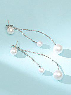 Drop Earrings With Artificial Pearl Tassels - White