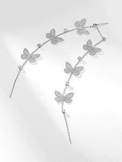 Rhinestoned Butterfly Shape Hollow Earrings - Silver