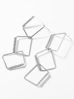 Asymmetric Hollow Rhinestone Design Drop Earrings - Silver