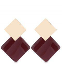 Geometric Color Block Design Alloy Earrings - Red Wine