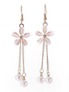 Flower Design With Tassel Artificial Pearl Earrings - Gold