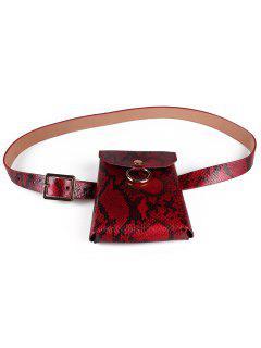 Serpentine Pin Buckle Skinny Belt Bag - Red