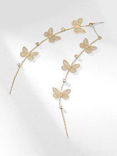 Rhinestoned Butterfly Shape Hollow Earrings - Gold