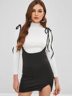 Tie Hombro Mini Vestido De Deslizamiento - Negro L