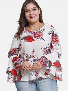 Flare Sleeve Plus Size Floral Blouse - White 2x