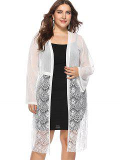 Open Plus Size Lace Sheer Blouse - White 2x