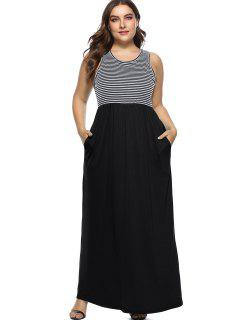 Sleeveless Plus Size Striped Maxi Dress - Black 4x