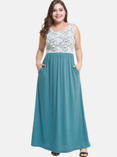 Vestido De Fiesta De Encaje Maxi Plus Size - Verde De Mar Ligero 2x