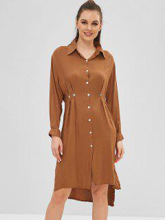 Slit High Low Shirt Dress - Light Brown Xl