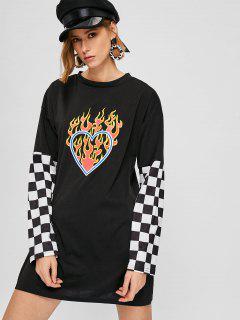 Heart Fire Checkered Tee Dress - Black M