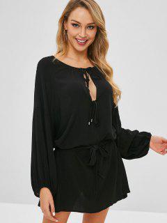 Vestido De Túnica Con Lazo Recortado - Negro L