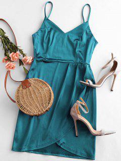 Shiny Mini Bodycon Cami Party Dress - Peacock Blue L
