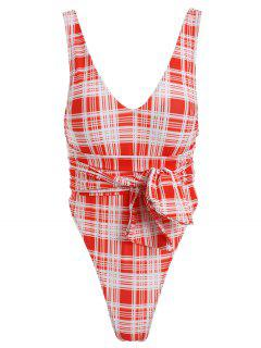 ZAFUL Tartan Knotted Backless One Piece Swimsuit - Red L