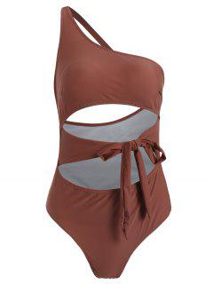 ZAFUL Knot Cutout One Shoulder Swimsuit - Rosy Finch S