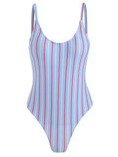 ZAFUL Striped Spaghetti Strap One Piece Swimwear - Denim Blue L