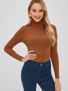 Ribbed Turtleneck Basic Layering Sweater - Brown