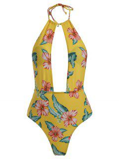 High Leg Plunge Floral Swimsuit - Goldenrod S