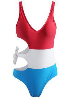 Color Block Tie Cut Out Swimsuit - Multi L