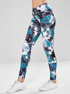 Floral Print Compression Sports Leggings - Multi M