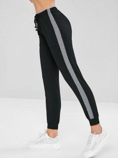 Side Panel Joggers Pants - Black L