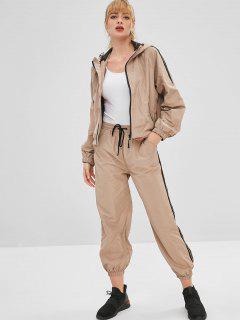 Hooded Sport Gym Jacket And Pants Set - Khaki L
