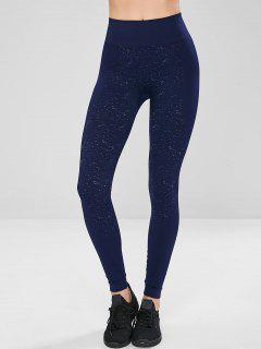 Speckled High Waisted Sports Compression Leggings - Deep Blue M