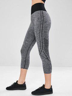 Space Dye High Waisted Capri Leggings - Gray M