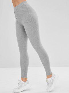 Mid Rise Pocket Leggings - Light Gray