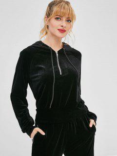 ZAFUL Velvet Half Zipper Raglan Sleeve Hoodie - Black S