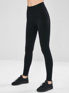 Textured Knit Compression Sports Leggings - Black M