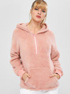 ZAFUL Sweat à Capuche Fourré à Demi-Zip Avec Poche - Rose  L