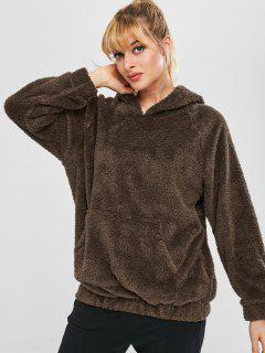 Fluffy Raglan Sleeve Teddy Hoodie - Coffee L