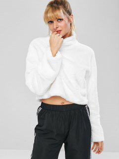 Fluffy Drop Shoulder Crop Teddy Sweatshirt - White L