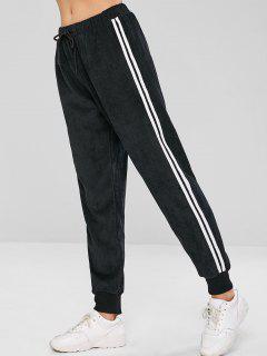 ZAFUL Striped Side Drawstring Corduroy Jogger Pants - Black M
