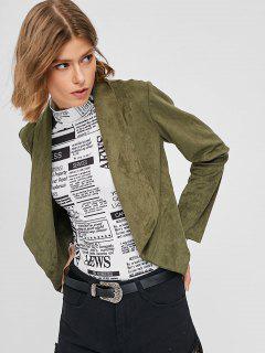 ZAFUL Short Faux Suede Open Jacket - Army Green S