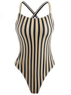 Unlined Striped One Piece Swimsuit - Yellow S