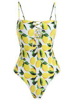Lemon Lace-Up High Leg Swimsuit - Yellow M