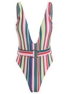 Colored Striped Plunging Belted Swimsuit - Multi S
