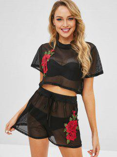 Floral Applique Mesh Top Shorts Matching Two Piece Set - Black Xl