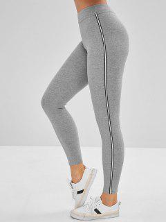 Skinny Contrast Trim Leggings - Light Gray