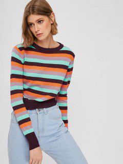 Pull Court Multicolore à Rayures - Multi