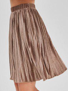 Falda Plisada De Terciopelo - Brown Rosa  L