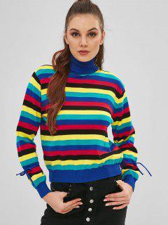 Pull Multicolore Rayé Manches Nouées à Col Roulé - Multi