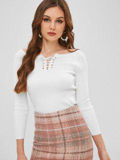 Lace Up Scoop Neck Sweater - Blanco