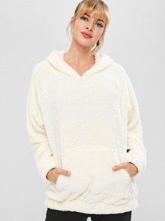 Fluffy Raglan Sleeve Teddy Hoodie - White L